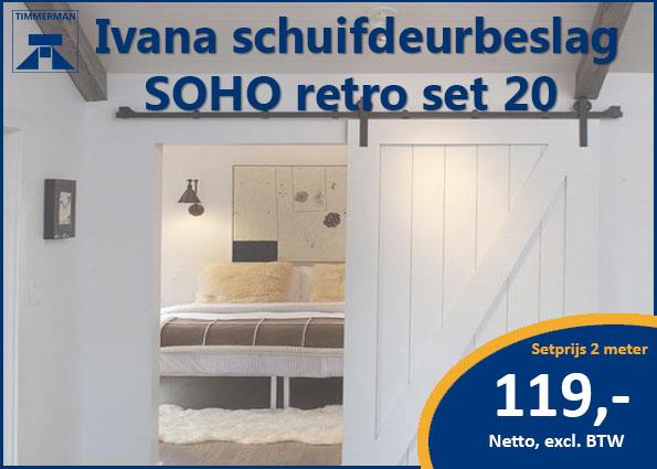 Ivana schuifdeurbeslag SOHO retro set 20