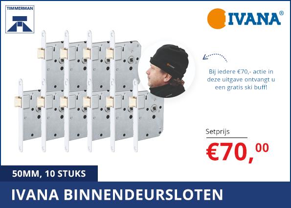 Ivana Binnendeursloten 50 mm, 10 stuks