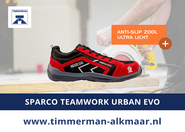 Uniek en exclusief bij Timmerman: Sparco Urban Evo werkschoenen