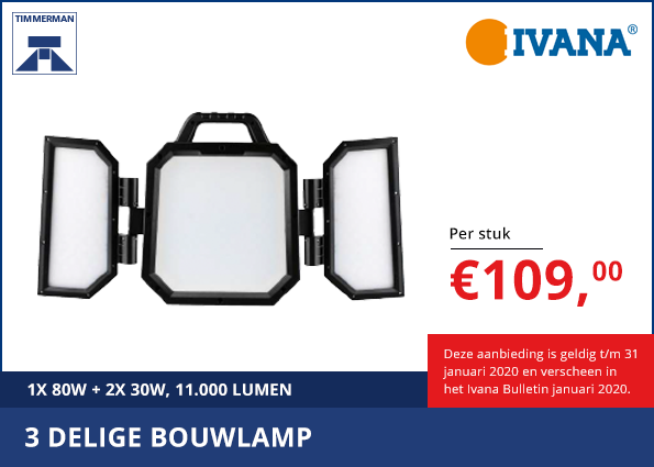 Driedelige bouwlamp