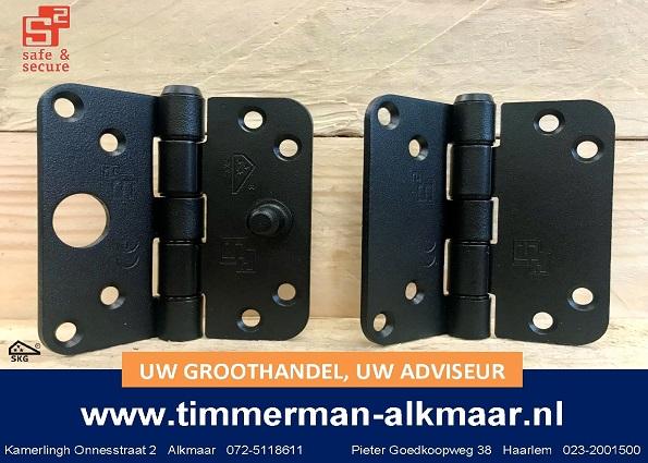 NIEUW bij Timmerman: S2 zwarte Glijlagerscharnier en veiligheids SKG*** Glijlagerscharnier